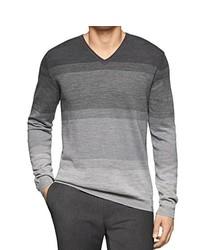 Calvin Klein Ombre Striped V Neck Sweater