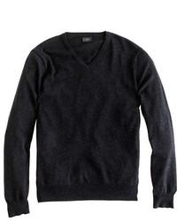 Slim cotton cashmere v neck sweater medium 333185
