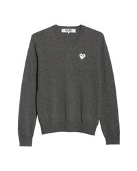 Comme Des Garcons Play White Heart Wool V Neck Sweater