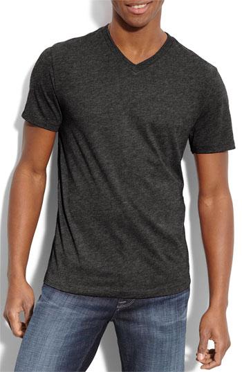 the rail trim fit v neck t shirt dark charcoal heather grey medium