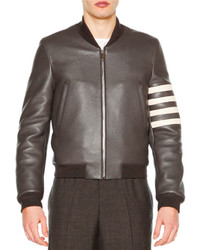 Thom Browne Leather Zip Up Varsity Jacket Dark Gray
