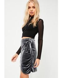 Grey velvet tie side wrap skirt medium 6844481