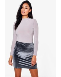 Boohoo Huda Roll Neck Slinky Body Velvet Skirt Co Ord