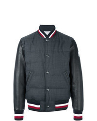 Charcoal Vertical Striped Bomber Jacket