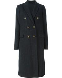 Brunello cucinelli pinstripe double breasted coat medium 691007