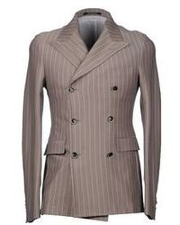 Charcoal Vertical Striped Double Breasted Blazer