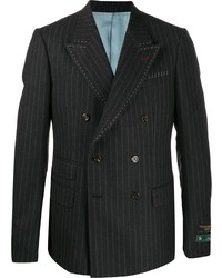 Gucci Pinstripe Double Breasted Exposed Stitching Blazer