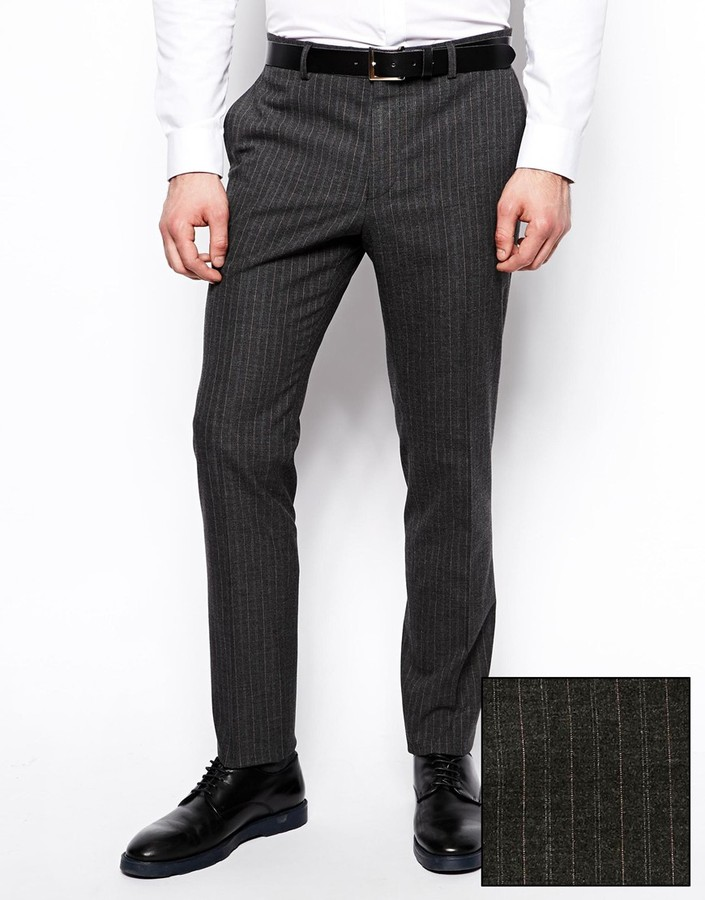 Asos Slim Fit Suit Pants In Pinstripe Grey | Where to buy & how to ...