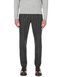 Brunello Cucinelli Pinstriped Flannel Wool Trousers
