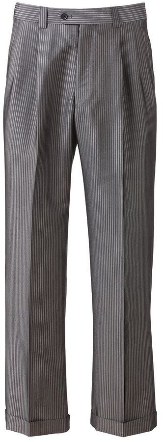 Steve Harvey Striped Double Pleated Gray Suit Pants | Where to buy ...
