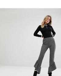 Missguided Pinstripe Asymmetric Frill Hem Trouser