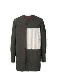 Ziggy Chen Striped Panel Long Line Shirt
