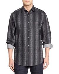 Charcoal Vertical Striped Long Sleeve Shirt