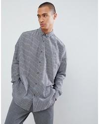 ASOS DESIGN Oversized Drop Shoulder Stripe Shirt In Longline