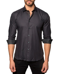 Jared Lang Stripe Print Sport Shirt Gray