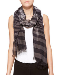 Metallic stripe scarf dark gray medium 95087