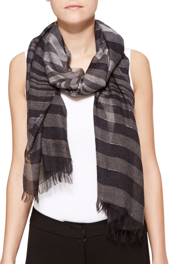 Armani Collezioni Metallic Stripe Scarf Dark Gray   Where to buy ... 2c486d84ba8