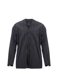 Charcoal Vertical Striped Shirt Jacket