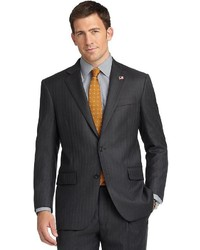 Brooks Brothers Madison Fit Saxxon Charcoal And Navy With Pearl Stripe 1818 Suit