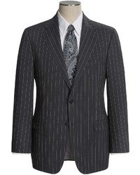 Hickey Freeman Extra Wide Beaded Stripe Suit Worsted Wool