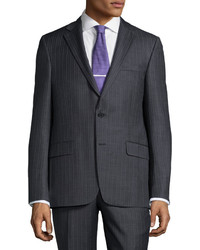 Hickey Freeman Classic Fit Pinstripe Suit Charcoal