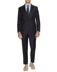 Hickey Freeman Dark Grey Pinstripe Suit