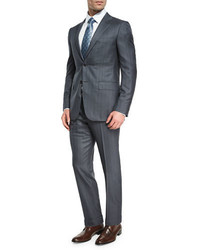 Tonal stripe trofeo 600 two piece suit gray medium 3759841