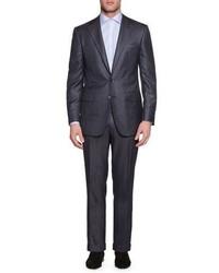 Stefano Ricci Tonal Stripe Two Piece Cashmere Blend Suit Gray