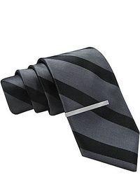 Jf j ferrar tonal striped tie and tie bar set skinny medium 41057