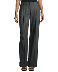 Charcoal Vertical Striped Wide Leg Pants