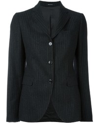 Charcoal Vertical Striped Wool Blazer