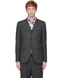 Comme des Garcons Homme Deux Grey Wool Mohair Stripe Blazer