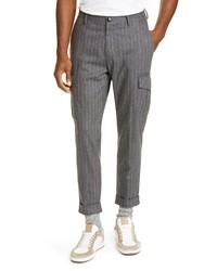 Eleventy Pinstripe Stretch Wool Cashmere Cargo Pants