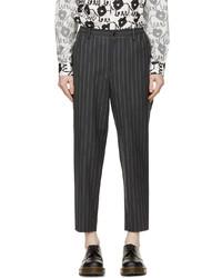 Comme des Garcons Homme Deux Grey Wool Mohair Stripe Trousers