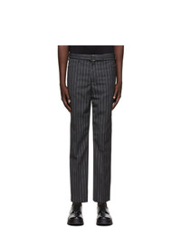 Neil Barrett Grey Wool Striped Trousers