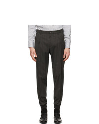 Z Zegna Grey Wool Striped Trousers