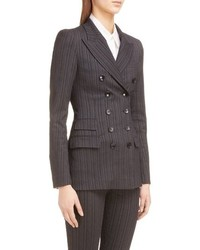 Charcoal Vertical Striped Wool Double Breasted Blazer