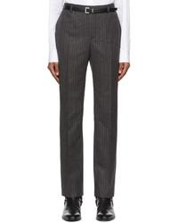 Saint Laurent Grey Black Virgin Wool Striped Trousers