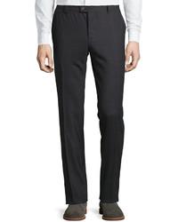 Brunello Cucinelli Pinstripe Grid Wool Trousers Dark Gray