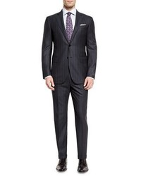 Ermenegildo Zegna Milano Wool Twin Stripe Two Piece Suit Charcoal