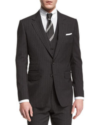 Buckley base pinstripe three piece wool suit charcoal medium 699987