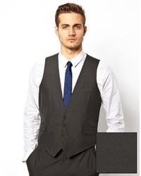 Asos Brand Slim Fit Vest In Charcoal
