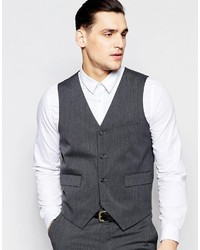 Asos Brand Slim Vest With Stretch In Charcoal