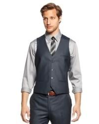 Bar III Suit Separates Blue Solid Vest Slim Fit