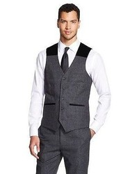Big Tall Suit Vest Charcoal Gray Wd Ny Black