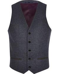 River Island Blue Single Breasted Vest