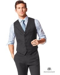 Banana Republic Br Monogram Charcoal Plaid Italian Wool Suit Vest ...
