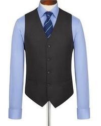 Burlington Charcoal Birdseye Half Canvas Classic Fit Suit Vest