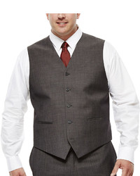 Claiborne Charcoal Herringbone Suit Vest Big Tall