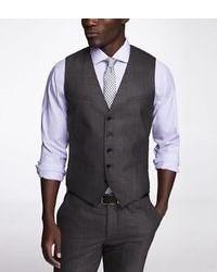 Express Dark Grey Plaid Suit Vest 5 Buttons Back Buckle Four Chest Pocket